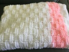New Crochet Baby Blanket Pink & White For Cot Crib Carseat Pram Buggy 38� x 26�