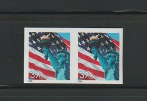US EFO, ERROR Stamps: #3981a, .39 Flag, Liberty S/A Die cut omitted pair. MNH