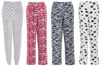 Ladies DALMATION Fleece Pyjama Pants Bottoms Lounge Trousers Print Pink Grey