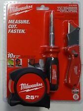 Milwaukee Tool 48-22-5525D 3pc Tape Measure Cut Fasten Set