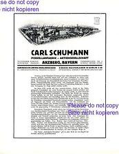 Porzellan Schumann Arzberg XL 1928 Reklame & Historie Bavaria Fabrik Werbung