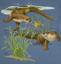 OTTERS--Aquatic Marine Weasels Wildlife Nature Science T shirt Small only NEW!