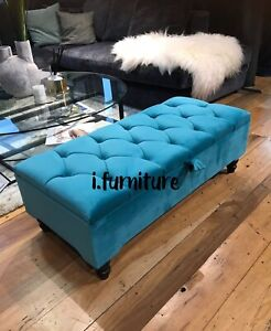 Ottoman Pouffe Wooden Chesterfield Velvet Footstool With Storage - Teal Aqua