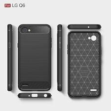 LG Q6 Premium Carbon Fibre TPU Gel Bumper Shock Case Cover Ultra Slim Protect