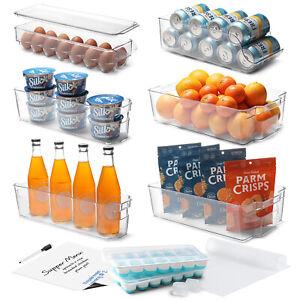 14 PC Refrigerator Organizer Set Clear Storage Bins for Fridge Freezer & Pantry