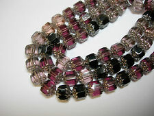 25 Amethyst, Pink, Black Mix Firepolished Cathedral Czech Glass 8mm beads