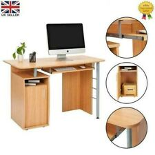 Computer Desk PC Table Home Office Study Furniture w/ Keyboard Rail Tray 1 Door