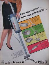 PUBLICITÉ DE PRESSE 1964 ASPIRATEUR PHILIPS POUR MA SATISFACTION - ADVERTISING