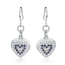 Fashion wedding 925 Silver Pretty Heart crystal women lovely Earring Jewelry
