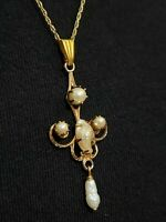 Art Deco Large 14K Gold Filled Filigree Seed Pearl Lavaliere Necklace