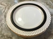 Grace's Teware Gold Dots Dinner Plates. White, Black With Metallic Accents. New.