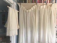 72 X 96 Pair Stunning Mint Custom White Victorian Cotton & Lace Pleated Drapes