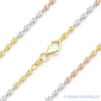 925 Sterling Silver & 14k Gold Diamond-Cut Oval Bead Link Italian Chain Necklace