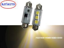 """2Pcs Warm White 38MM 1.49"""" 5050 3SMD Dome Festoon LED Bulb For Door Light 3000K"""