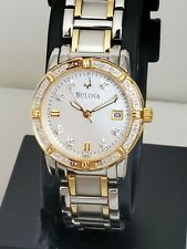 Excellent BULOVA 98R107 REAL DIAMONDS TWO TONE 28MM LUXURY WOMEN'S WATCH $450.