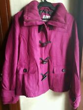 DELIA'S THINSULATE TECHNOLOGY REMOVABLE HOOD PEACOAT, FUSCHIA SIZE EXTRA LARGE