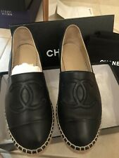 Chanel Classic Black Smooth Leather Espadrilles CC Logo 38, 8 Box Dust Bag