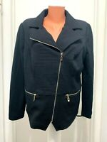 CHICOS  polyester cotton spandex  lined Jacket pockets zip navy blue size 2