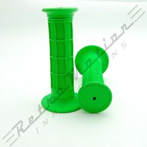 "USA Made - MX Waffle Handlebar Rubber Grips Motocross Dirt Bike 22mm 7/8"" Green"