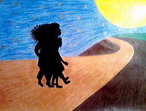 DRAWING - 'LIGHT WALK', ANIMATED COLORED PENCIL ON SKETCH PAD- FREE SHIPPING!!!