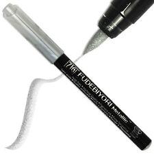 SET of 2 ZIG Fudebiyori Metallic Silver Kuretake Fude Brush Pen Made in Japan