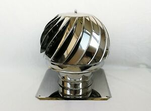 CHIMNEY SPINNER COWL with BASE PLATE Stainless Steel Spinning Rotating Cap Cover