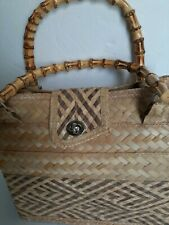 Hand Crafted Elden's Collection Straw Weaved Woven Purse Bamboo Handles...