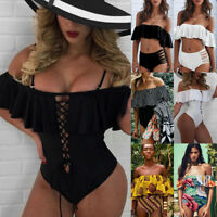 SEXY Womens Monokini One piece Off Shoulder Push up Bikini Top Swimsuit Swimwear