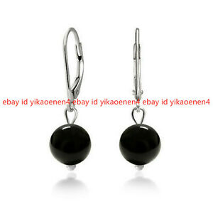 Fashion 10mm Black Agate Onyx Round Gems Dangle Silver Leverback Earring