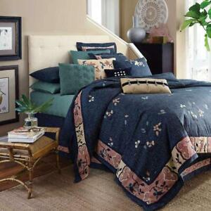 DRANSFIELD & ROSS HOUSE Indochine Teal Blue 3P KING DUVET SET NEW Neiman Marcus