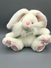 White Plush Rabbit With Pink Nose Eyes Inside Of Ears And Feet Pads