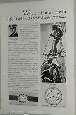 1929 ELGIN Watch advertisement, Wristwatch, Pocket Watch, US Navy Commander