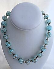 Antique Venetian Art Glass Beads Blue And White With Gold Flecks Necklace
