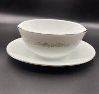 Kenmark China Meadowbrook # 6893 Open Gravy Sauce Boat Underplate White Silver