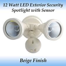 12 Watt LED Exterior Twin Head Security Spotlight in Beige with Sensor