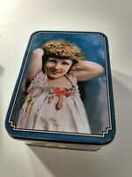 """Vintage Candy Toffee Tin Victorian Child Graphic Blue 4"""" x 5"""""""