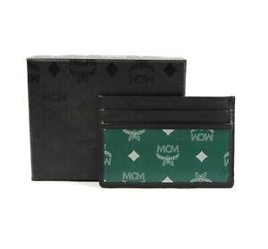 MCM Eden Green Reflective Nylon Card Case with Leather Trim MXA9ARA17G5001