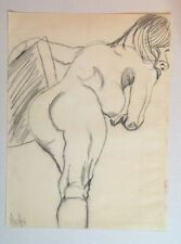 PROTEST / OUTSIDER ART - Nude Pig Lady - Original 1973 Pencil on Paper -UNSIGNED