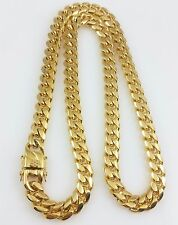 """Men  18K Yellow Gold Stainless Steel 30"""" 10mm Miami Cuban Curb Link Chain"""