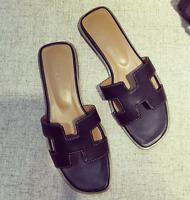 Ladies Punk Peep Toe Flat Slippers Mules Roma Sandals Shoes Flip Flops Grace H01
