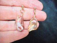 Vintage 1950's FIRE AGATE Natural Stone Pierced Earrings