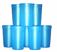 12 Lg -20 oz  Blue Translucent Plastic Drinking Glasses Cups  Mfg USA Lead Free