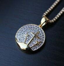 Mini Gold Lab Diamond Three Cross Pendant Necklace