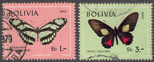1970 Bolivia SC# C302-C305 - F - Butterflies - 2 Different Stamps - Used