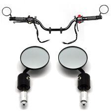"Universal Bar End Mirrors 7/8"" Black Motorcycle Cafe Racer Bobber Chopper Yamaha"
