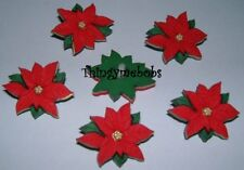 VAT Dress It up Red Poinsettias 5 Buttons Craft Sewing Knitting 2951