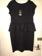 Ladies Size 18 NEW Peplum Short Sleeve Black Dress by Papaya
