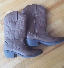 Smart fit Skid-resistant Brown Western Cowgirl / Cowboy Boots, Kids Girl Sz 3.5