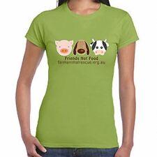 "1 Farm Animal Rescue FAR  ""Friends Not Food"" ladies shirt VEGAN -   SPECIAL GIFT"
