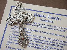 Catholic medal PARDON CRUCIFIX Happy Death with explanation of indulgences